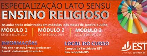 Especialização Latu Sensu - Ensino Religioso
