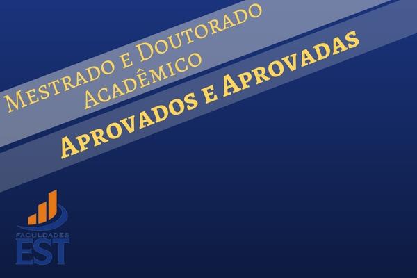 Aprovados e aprovadas na seleção do PPG-EST