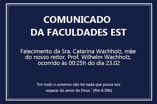 Comunicado da Faculdades EST