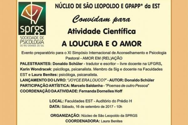 A LOUCURA E O AMOR, ATIVIDADE OCORRE NO DIA 16 DE SETEMBRO